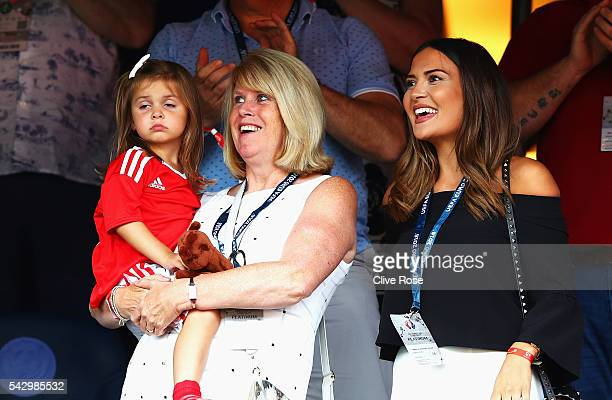 Debbie Bale mother of Gareth Bale of Wales holding Bale's daughter Alba Violet and Emma RhysJones wife of Gareth Bale are seen prior to the UEFA EURO...