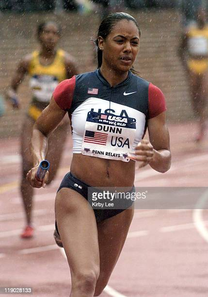 Debbie Dunn runs the 400meter leg on the United States Red women's sprint medley relay that ran a worldbest 33742 in the USA vs The World competition...