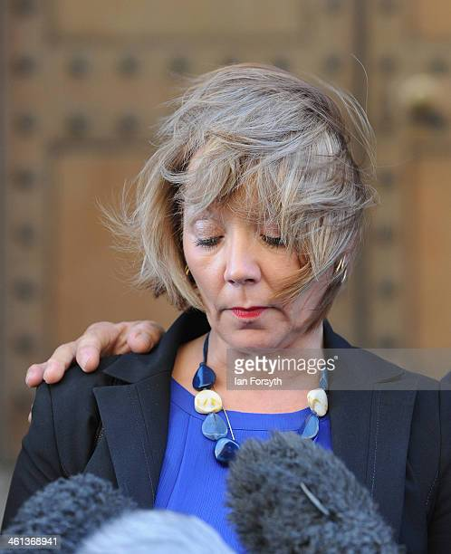 Debbie Essery reads a statement to media following the suicide verdit in the inquest into the death of her brother PC David Rathband on January 8...
