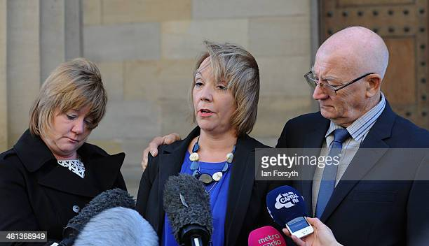 Debbie Essery reads a statement to the media along with her sister Julie Reece and their father Keith Rathband following the suicide verdict in the...