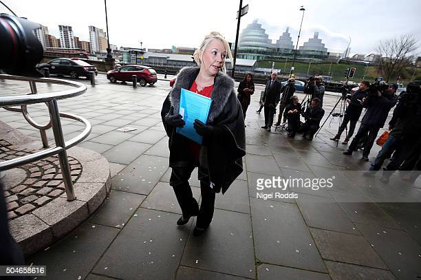 Debbie Essery sister of PC David Rathband arrives ahead of the family's court case against Northumbria police at Newcastle Crown Court on January 12...