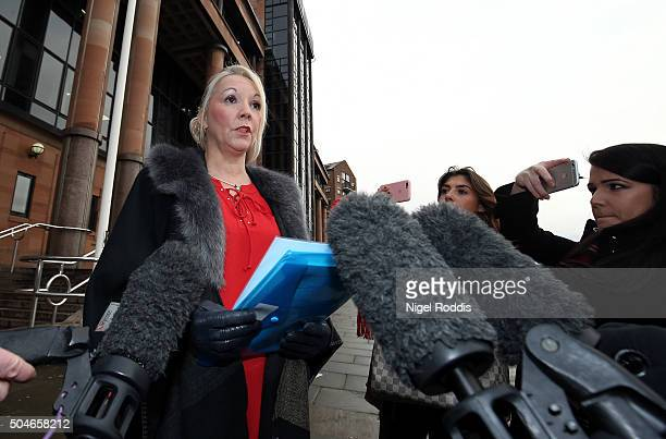 Debbie Essery sister of PC David Rathband speaks to the media ahead of the family's court case against Northumbria police at Newcastle Crown Court on...