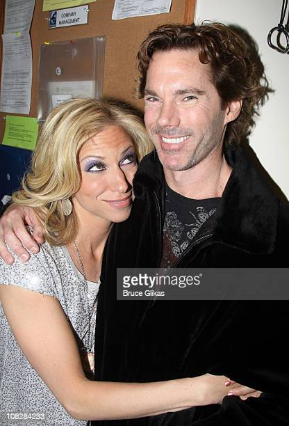 Debbie Gibson and boyfriend Dr Rutledge Taylor pose backstage at the hit musical SpiderManTurn On the Dark on Broadway at The Foxwoods Theater on...