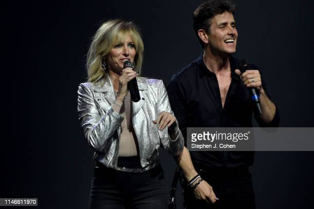 Debbie Gibson and Joey McIntyre of New Kids On The Block performs at US Bank Arena on May 02 2019 in Cincinnati Ohio