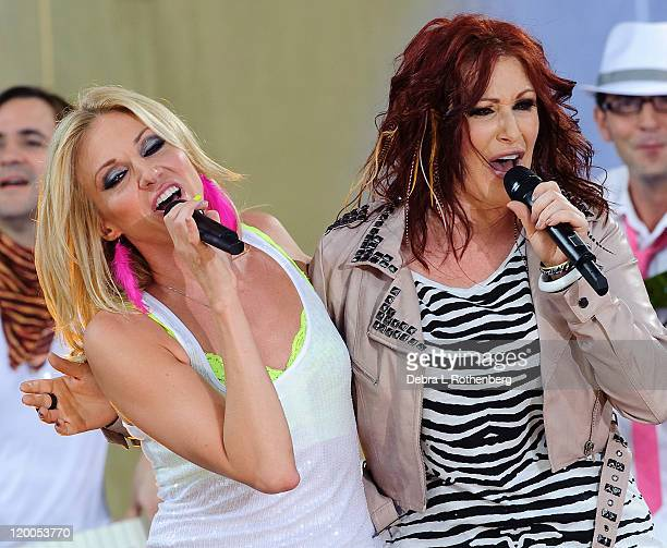Debbie Gibson and Tiffany perform on ABC's 'Good Morning America' at Rumsey Playfield Central Park on July 29 2011 in New York City