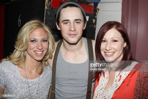 Debbie Gibson Reeve Carney and Tiffany pose backstage at the hit musical 'SpiderManTurn On the Dark' on Broadway at The Foxwoods Theater on January...
