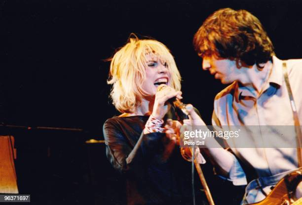 Debbie Harry and Chris Stein of Blondie perform on stage at Hammersmith Odeon on January 11th 1980 in London United Kingdom