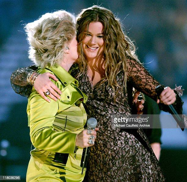 Debbie Harry and Joss Stone during 2004 VH1 Divas Benefitting The Save The Music Foundation Show at The MGM Grand in Las Vegas Nevada United States