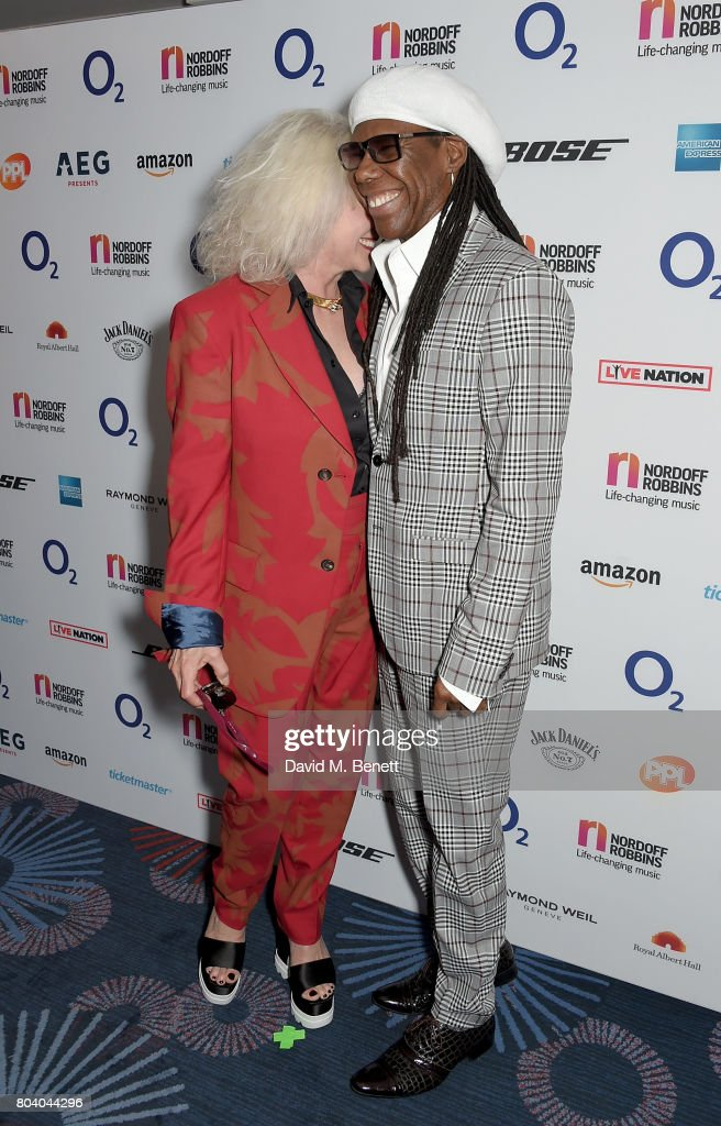 Debbie Harry and Nile Rodgers at the Nordoff Robbins O2 Silver Clef Awards at The Grosvenor House Hotel on June 30, 2017 in London, England.