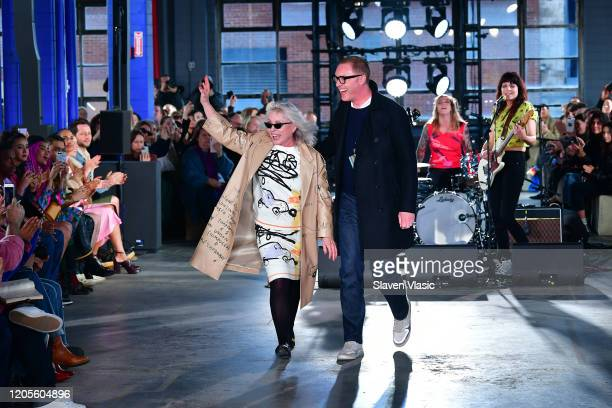 Debbie Harry and Stuart Vevers on the runway for the Coach 1941 fashion show during February 2020 New York Fashion Week on February 11 2020 New York...