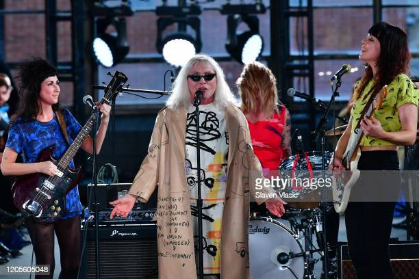 Debbie Harry and The Coathangers perform on the runway for the Coach 1941 fashion show during February 2020 New York Fashion Week on February 11 2020...
