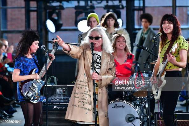 Debbie Harry and The Coathangers performs on the runway for the Coach 1941 fashion show during February 2020 New York Fashion Week on February 11...