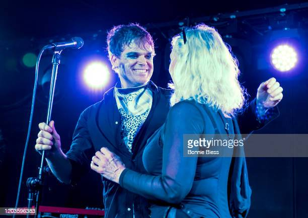 Debbie Harry of Blondie joins Michael C Hall of Princess Goes To The Butterfly Museum onstage during Princess Goes To The Butterfly Museum In Concert...