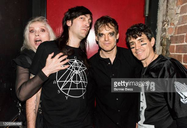 Debbie Harry of Blondie Matt KatzBohen Michael C Hall and Peter Yanowitz of Princess Goes To The Butterfly Museum pose backstage after their...