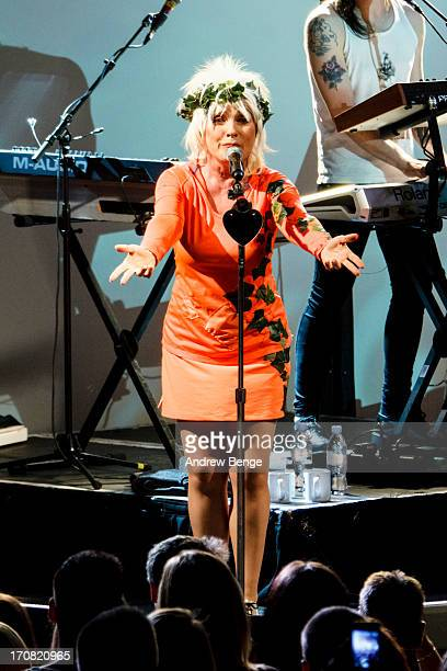 Debbie Harry of Blondie performs on stage at O2 Academy on June 18 2013 in Liverpool England