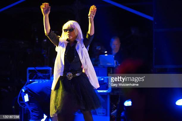 Debbie Harry of Blondie performs on stage during the final day of Kendal Calling Festival at Lowther Deer Park on July 31 2011 in Kendal United...
