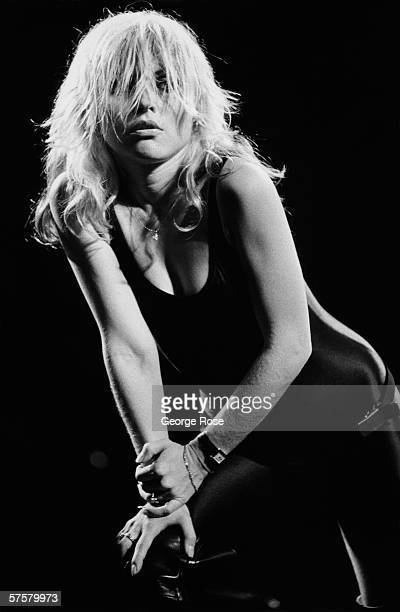 Debbie Harry of the rock group Blondie poses in a Spandex jumpsuit on stage during a 1979 West Hollywood California concert at the Whiskey A Go Go