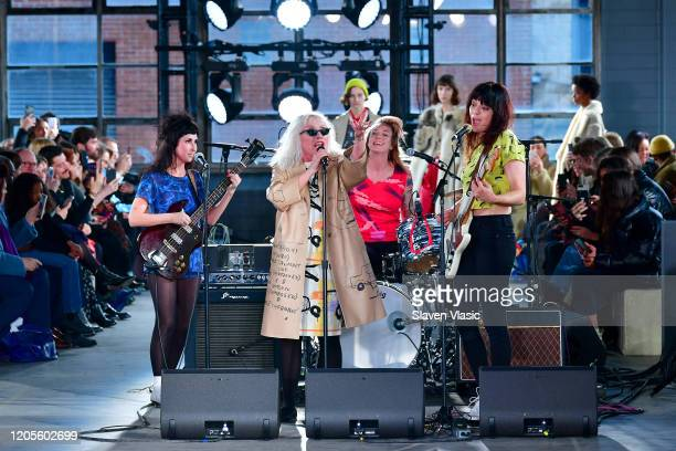 Debbie Harry performs on the runway for the Coach 1941 fashion show during February 2020 New York Fashion Week on February 11 2020 in New York City