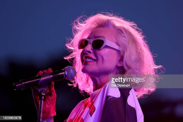 "Debbie Harry performs onstage at the ""Blondie: Vivir En La Habana"" premiere during the 2021 Tribeca Festival at Battery Park on June 16, 2021 in New..."