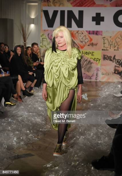 Debbie Harry walks the runway at the Vin Omi Spring/ Summer 2018 collection ahead of London Fashion Week September 2017 at Andaz London on September...