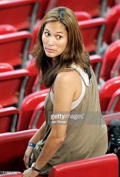 Debbie Klinsmann the wife of German Team Coach Jurgen Klinsmann takes her seat before the FIFA World Cup Germany 2006 Third Place Playoff match...