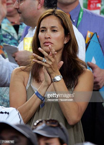 Debbie Klinsmann the wife of German Team Coach Jurgen Klinsmann applauds during the FIFA World Cup Germany 2006 Third Place Playoff match between...