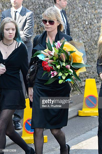 Debbie Leng and Lola Daisy May Leng Taylor attend the funeral of Peaches Geldof who died aged 25 on April 7 at St Mary Magdalene St Lawrence Church...
