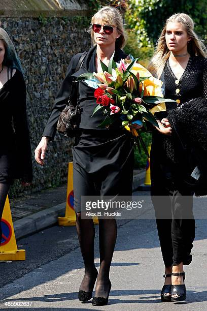 Debbie Leng and Tigerlily Taylor sighted arriving at the funeral of Peaches Geldof on April 21 2014 in Faversham England
