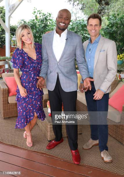 Debbie Matenopoulos Akbar GbajaBiamila and Cameron Mathison on the set of Hallmark's 'Home Family' at Universal Studios Hollywood on April 19 2019 in...
