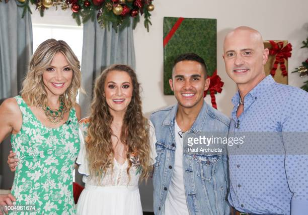 Debbie Matenopoulos Alexa PenaVega Carlos PenaVega and Brian Boitano on the set of Hallmark's 'Home Family' celebrating 'Christmas In July' at...