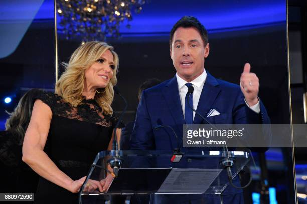 Debbie Matenopoulos and Mark Steines attend Crown Media's Upfront Event at Rainbow Room on March 29 2017 in New York City