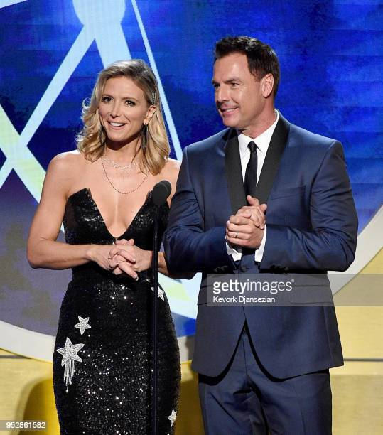 Debbie Matenopoulos and Mark Steines speak onstage during the 45th annual Daytime Emmy Awards at Pasadena Civic Auditorium on April 29 2018 in...