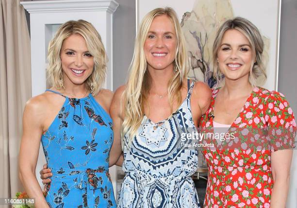 Debbie Matenopoulos Bethany Hamilton and Ali Fedotowsky on the set of Hallmark's Home Family at Universal Studios Hollywood on July 08 2019 in...