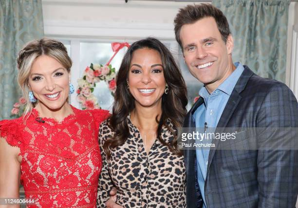 Debbie Matenopoulos Eva LaRue and Cameron Mathison on the set of Hallmark's Home Family at Universal Studios Hollywood on January 24 2019 in...