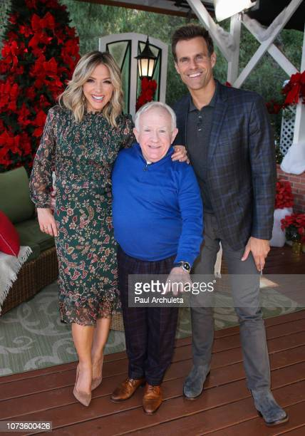 Debbie Matenopoulos Leslie Jordan and Cameron Mathison on the set of Hallmark's Home Family at Universal Studios Hollywood on November 27 2018 in...