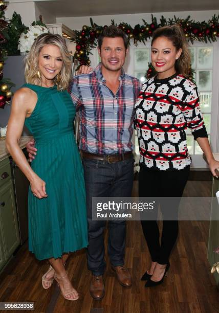 Debbie Matenopoulos Nick Lachey and Vanessa Lachey visit Hallmark's Home Family celebrating Christmas In July at Universal Studios Hollywood on July...