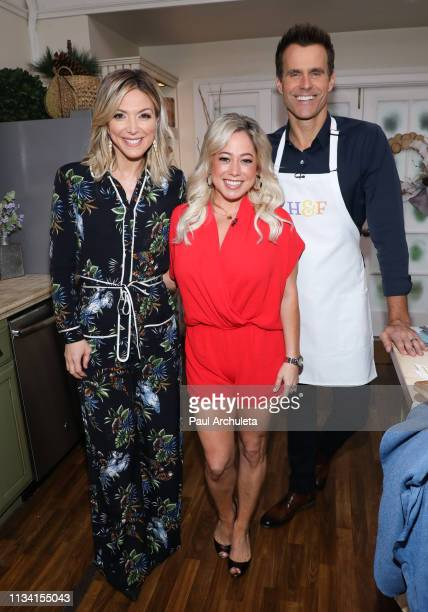 """Debbie Matenopoulos, Sabrina Bryan and Cameron Mathison on the set of Hallmark's """"Home & Family"""" at Universal Studios Hollywood on March 06, 2019 in..."""