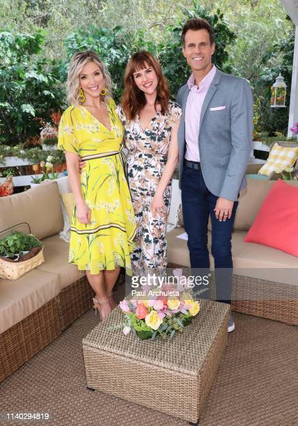 "Debbie Matenopoulos, Sara Rue and Cameron Mathison on the set of Hallmark's ""Home & Family"" at Universal Studios Hollywood on April 03, 2019 in..."