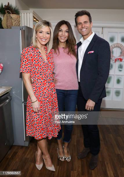 Debbie Matenopoulos Vanessa Arevalo and Cameron Mathison on the set of Hallmark's Home Family at Universal Studios Hollywood on February 13 2019 in...