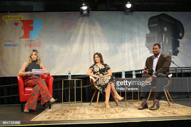 Debbie Matenopoulos Victoria Arlen and Jason Collins attend the Game Changers panel at the 4th Annual Bentonville Film Festival Day 4 on May 4 2018...