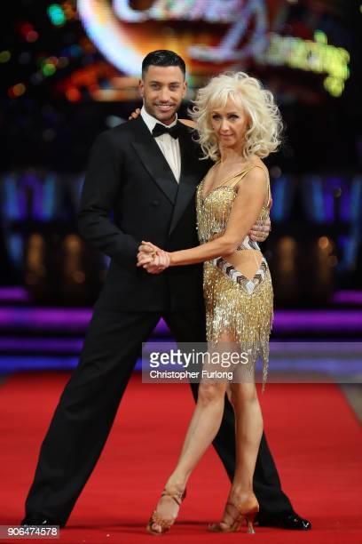 Debbie McGee and Giovanni Pernice attend the 'Strictly Come Dancing' Live photocall at Arena Birmingham on January 18 2018 in Birmingham England...