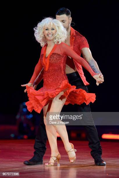 Debbie McGee and Giovanni Pernice attend the 'Strictly Come Dancing' Live dress rehearsal at Arena Birmingham on January 18 2018 in Birmingham...