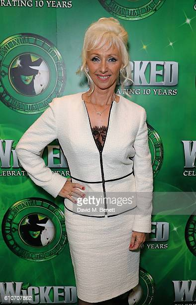Debbie McGee attends the hit musical Wicked celebrating 10 years at The Apollo Victoria Theatre on September 27 2016 in London England