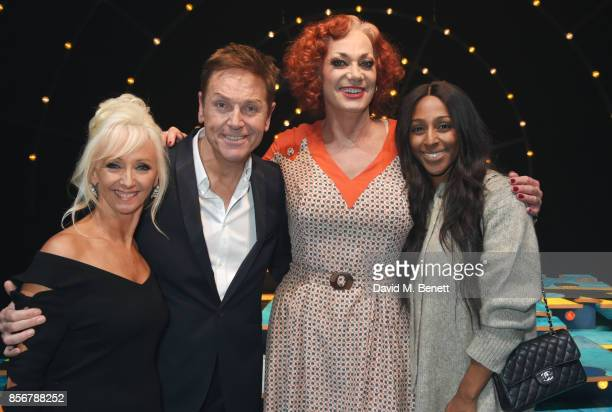Debbie McGee Brian Conley cast member Craig Revel Horwood and Alexandra Burke pose backstage following the cast change press night performance of...