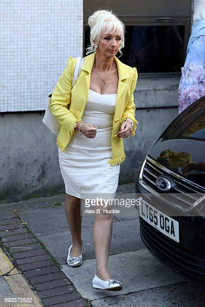 Debbie McGee seen leaving the ITV Studios after an appearance on 'Loose Women' on August 22 2016 in London England