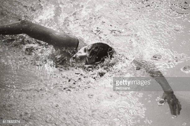 Debbie Meyer of Sacramento California churns her way toward a new Olympic record in the women's 400meter freestyle swimming competition 10/19 in...
