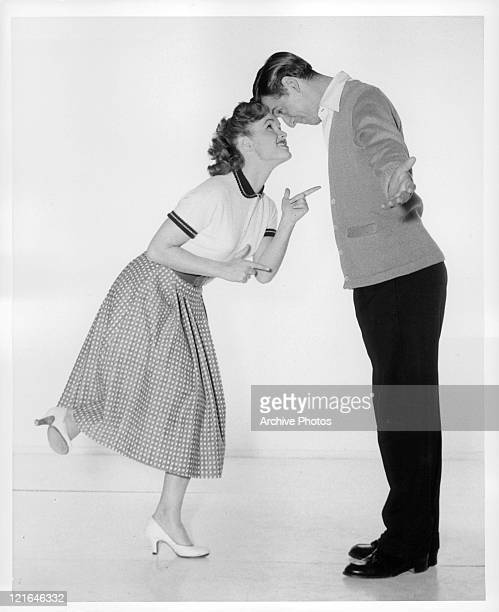 Debbie Reynolds And Bobby Van dance in a scene from the film 'Affairs Of Dobie Gillis' 1953
