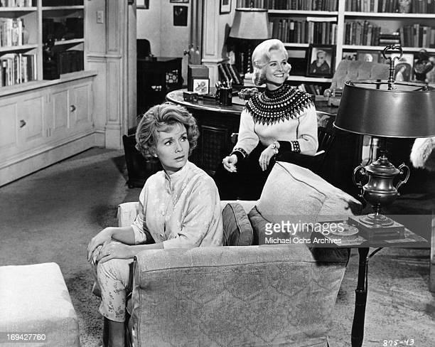 Debbie Reynolds and Diane McBain looking to their left in a scene from the film 'Mary Mary' 1963