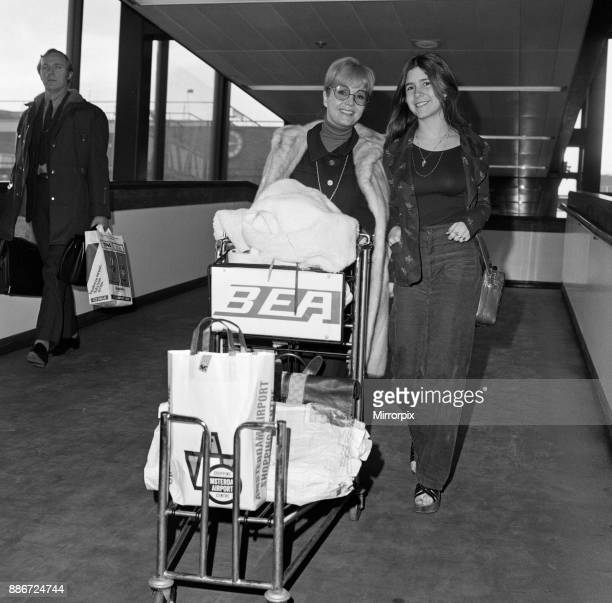 Debbie Reynolds and her 15yearold daughter Carrie Fisher at Heathrow Airport today before flying to Madrid 12th February 1972