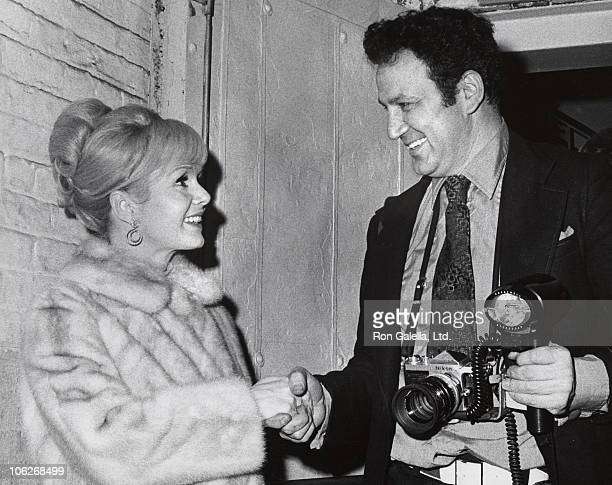 Debbie Reynolds and Ron Galella during Irene Opening June 21 1977 at Los Angeles Music Center in Los Angeles California United States